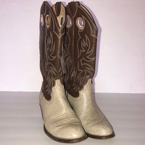 Justin size 4.5C bone and brown cowboy boots